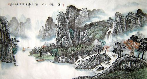 Chinese_painting_the_famous_Li_River_Guiling_scenery_3474