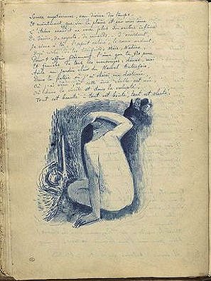 NU BLEU Album Noa Noa Notes manuscrites et femmes près d'une cascade de Paul Gauguin