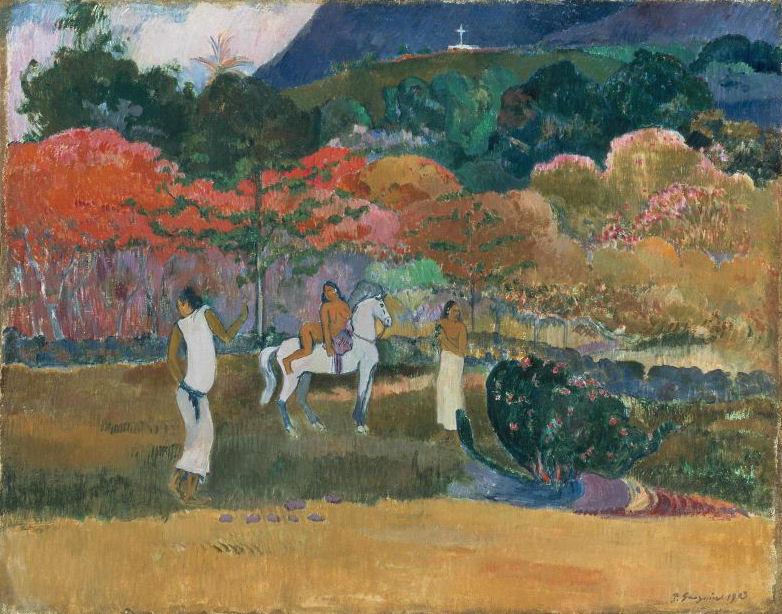 Gauguin_-_Femmes_et_cheval_blanc