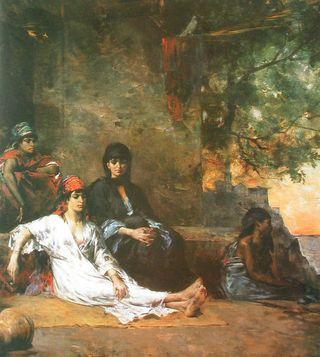 27-Eug--ne-Fromentin--Egyptiennes-devant-la-porte-d-une-habitation