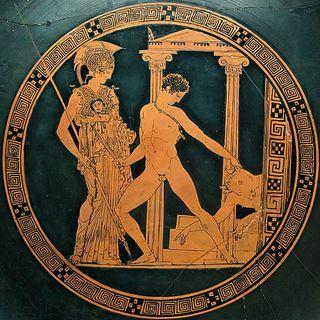 Thesee-combat-le-Minotaure-assiste-par-Athena_medaillo