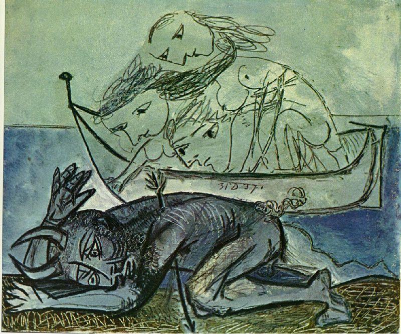 Picasso Minotaure blessé. 31-December 1937. 46 x 55 cm. Oil