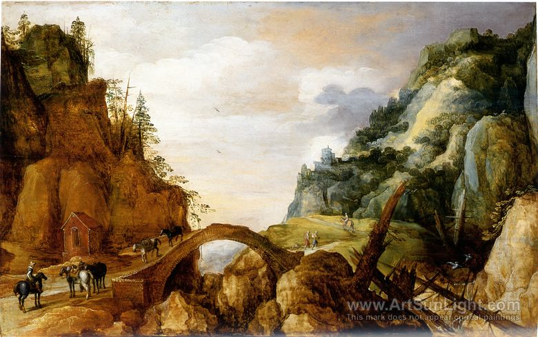 A-mountainous-landscape-with-horsemen-and-travellers-crossing-a-bridge-013