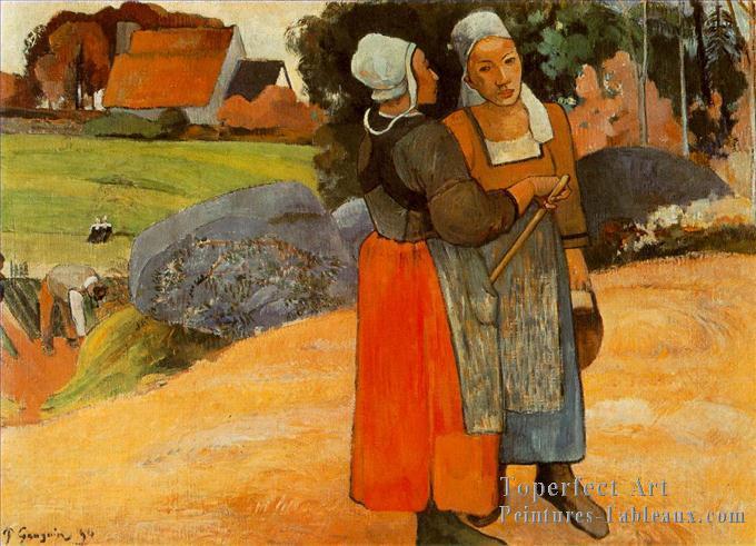4-Paysannes-Bretonnes-Breton-Paysan-Femmes-Post-impressionnisme-Primitivisme-Paul-Gauguin