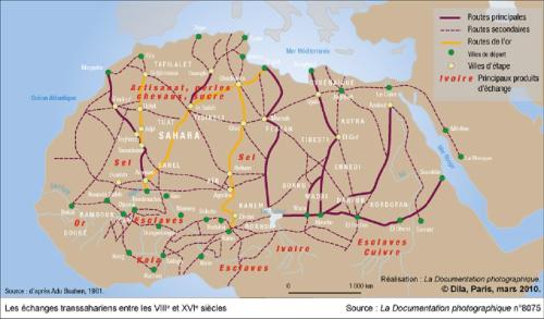 Caravanes-en-Afrique-carte-du-commerce-caravanier-transsaharien-en-Afrique-du-8e-siecle-au-16-e-siecle-esclave-kola-cuivre-sel-chevaux-suc