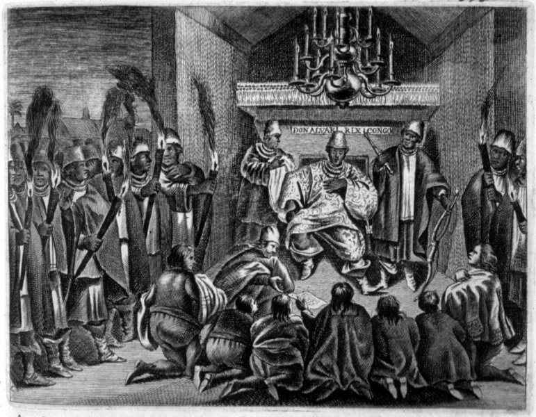 King-of-Kongo-Receiving-Dutch-Ambassadors-1642-DO-Dapper-Description-de-lAfrique-Traduite-du-Flamand-1686