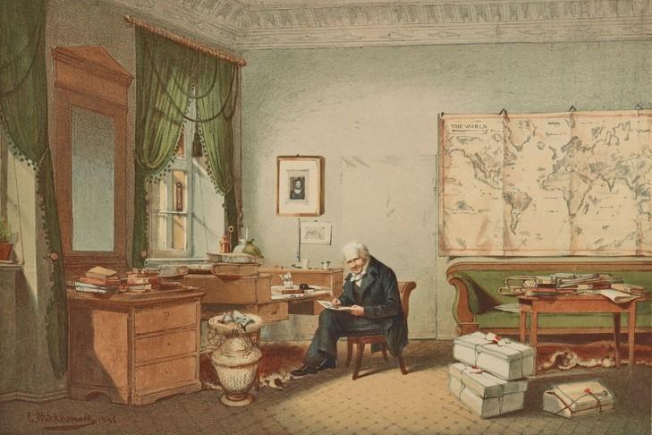 Alexander-Humboldt-bureau-Lithographie-Bardtenschlager-aquarelle-Eduard-Hildebrandt-1874_1_729_486