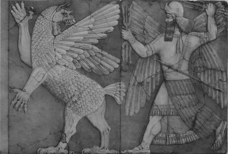 Representation-du-combat-entre-Tiamat-a-gauche-et-Marduk-a-droite-Tiamat-est
